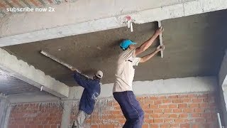 Amazing House Construction - Rendering Sand And Cement On Concrete Ceiling