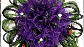 Dollar Tree Mesh Wreath Tutorial/Deco Mesh Flower Wreath/Halloween Wreath