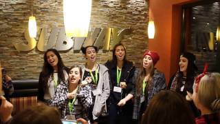 "Cimorelli singing ""I Got You"" at Subway in Frankfurt"