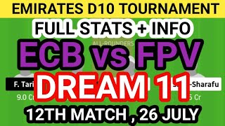 ECB vs FPV Dream 11 Team Prediction, ECB vs FPV Dream 11 Team Analysis, ECB vs FPV Dream 11 Today