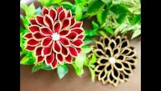 【100均材料だけで つまみ細工】kanzashi Flower  Fabric Flower 髪飾り作り方 成人式 卒業式 七五三