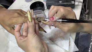 Brown And Gold Glitter Ombré Nail Tutorial
