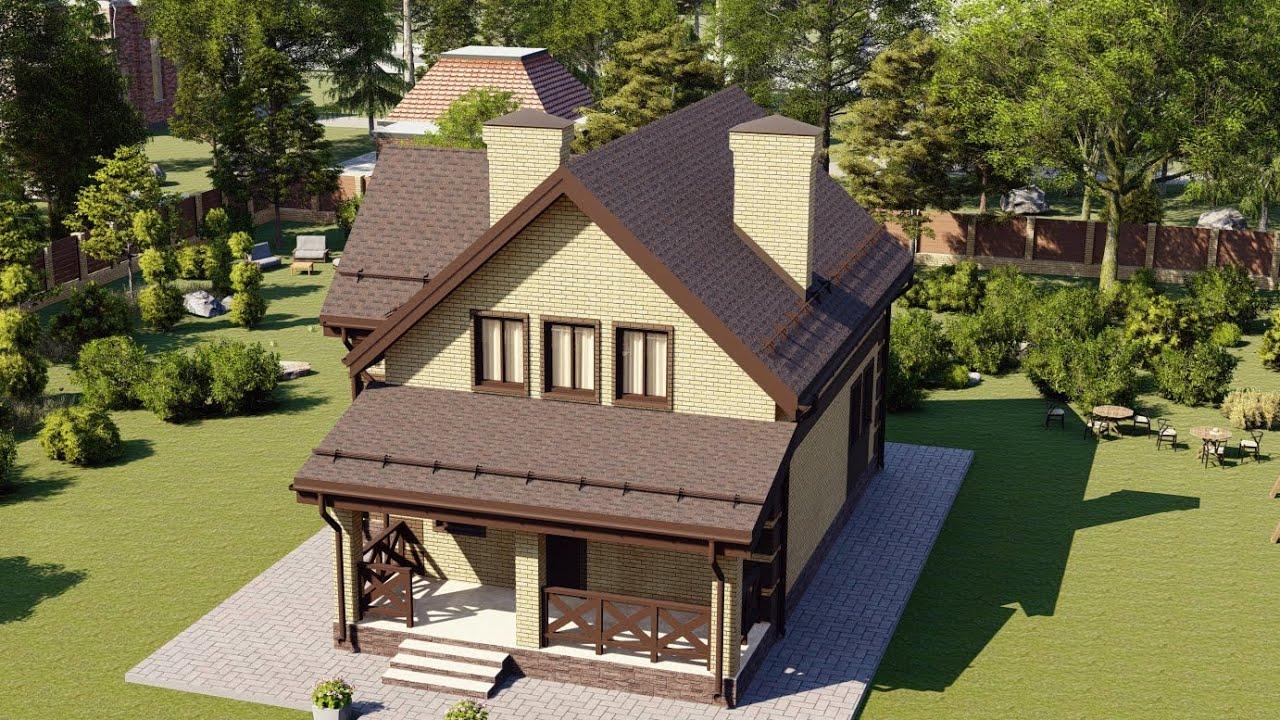 Проект небольшого мансардного дома из пеноблока 8 на 11 117 м2