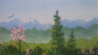 Смотреть онлайн Быстро рисуем летний пейзаж гуашью