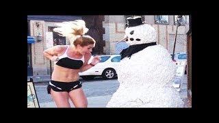 Злой снеговик / Пугающий пранк / Смешные приколы над людьми