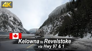 Winter drive from Kelowna to Revelstoke in British Columbia, Canada