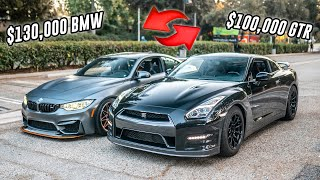 WE TRADED CARS FOR A DAY!! R35 GTR VS M4 GTS!!