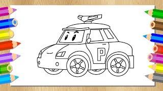 Рисуем Робокара Поли - Раскраска - Учим цвета - Мультик про машинки - Robocar Poli - Learn Colors