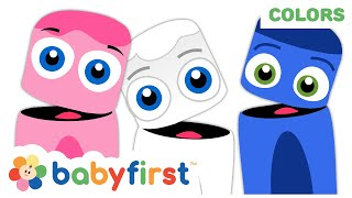 Color Collection: Pink, White, Blue | Learn Colors w Color Crew | Coloring for Kids | Baby First TV