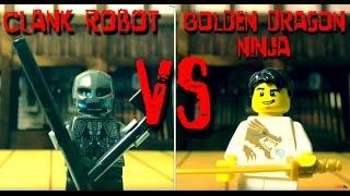 lego fight club - gold dragon ninja vs clank robot - lego animation - stop motion lego