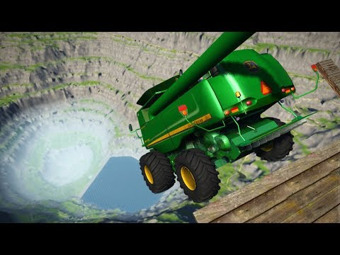 CRASH TESTING TRACTORS OFF GIANT CLIFF! Leap Of Death! (BeamNG Drive Mods)