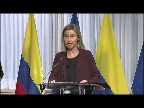 Mogherini at EU-Colombia Signing ceremony on the short-stay visa waiver