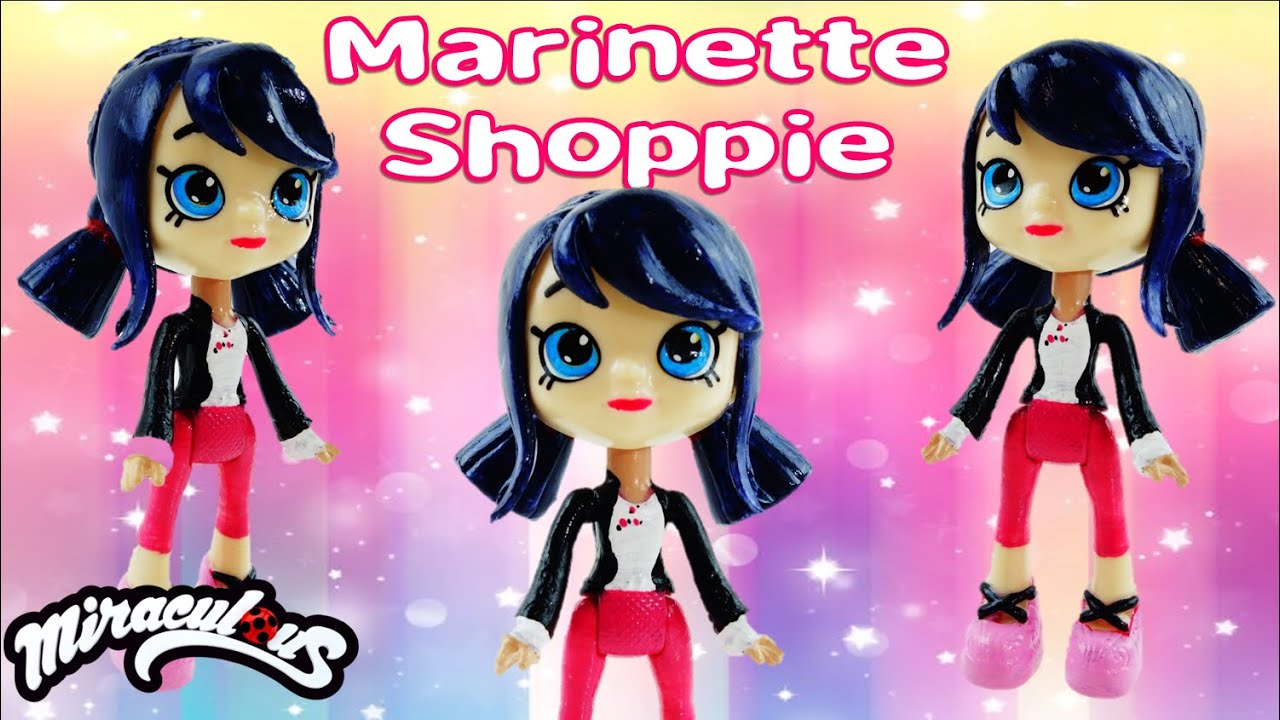 MARINETTE SHOPPIE DOLL - Miraculous Ladybug & Cat Noir Shopkins Shoppie Doll Custom DIY Tutorial