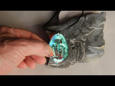 Fused Dichroic Glass from rock fossils