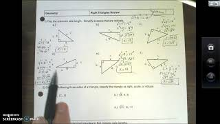 Right Triangles Test Review Video #1
