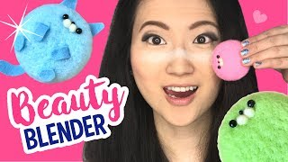 DIY Beauty Blender Using NEEDLEFELT?!! DIY Macaron Cat Make-Up Sponge :3