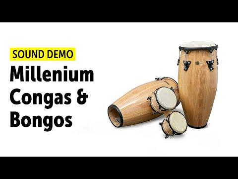 Millenium Konga páros. Eukaliptusz fa test, kecskebőr hártya, Hangszer gyűjteménybe való.