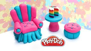 Making Dolls Furniture. DIY Dollhouse Armchair, Table, Pouf. Play Doh Crafts for Kids. Dollhouse DIY