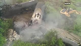 Fort Worth, TX train derailment: raw video of derailment on April 24, 2019