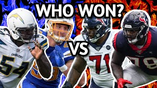 Houston Texans Tytus Howard And Laremy Tunsil VS Los Angeles Chargers Joey Bosa And Melvin Ingram