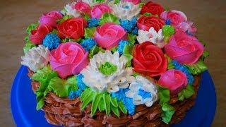 Торт для СВЕКРОВИ Сборка торта с безе и персиками Украшение тортов белково заварным кремом
