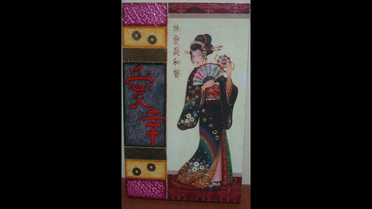 "Manualidades:Cuadro Japonesa con Texturas-By:""Taller Dnella""2014"