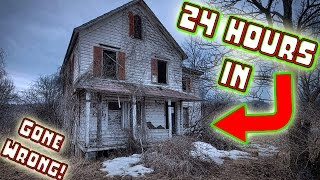 (ATTACKED) 24 HOUR OVERNIGHT CHALLENGE IN ABANDONED HAUNTED HOUSE!  SNEAKING INTO HAUNTED HOUSE!