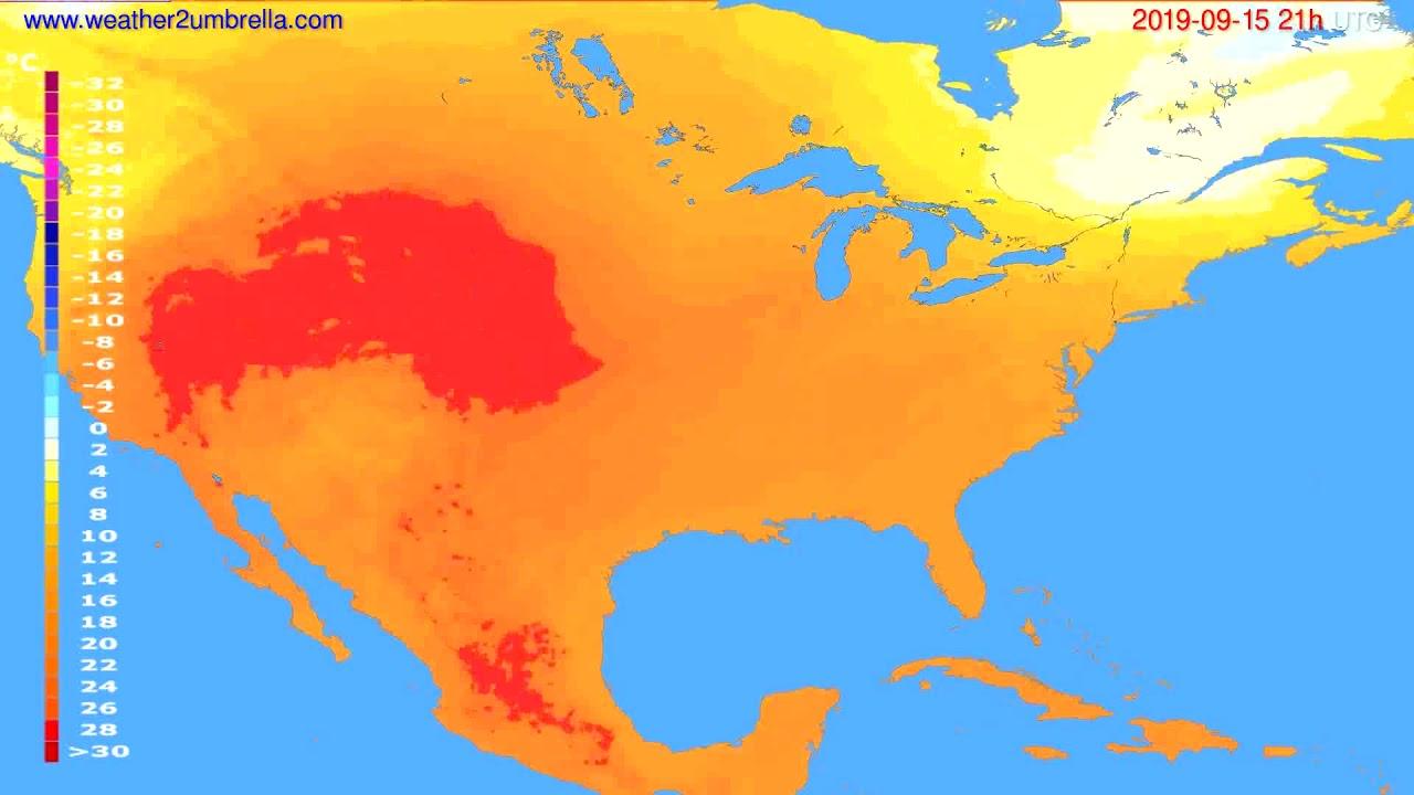 Temperature forecast USA & Canada // modelrun: 00h UTC 2019-09-14