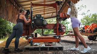 Two Beautiful Blondes Cutting Dimensional Lumber On The Sawmill