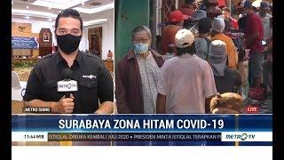 Warna Kota Surabaya dalam peta sebaran covid-19 di Jawa Timur sudah berwarna merah tua cenderung hitam. Penetapan warna zona pada peta ini merujuk pada jumlah kasus positif di Surabaya yang mencapai 2.633.