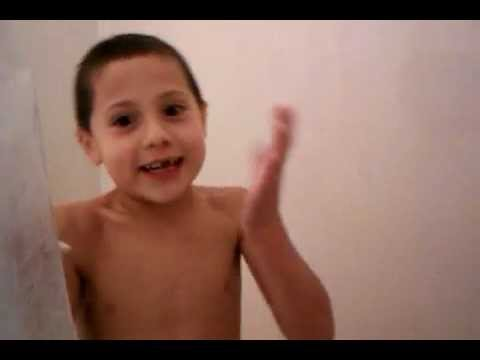 Silly kid singing in the shower