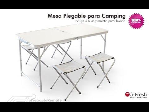 Mesa Portátil Plegable para Camping con 4 sillas + maleta aPreciosdeRemate