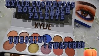 Kylie Cosmetics Royal Peach Palette Unboxing  First Impression & Swatches