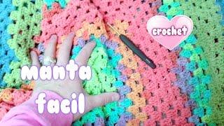 """COMO HACER MANTA RAPIDA Y FACIL A CROCHET SIN COSER  """"crochet Blanket For Beginners""""💗💗💗"""