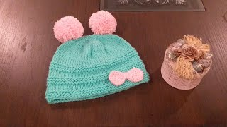 How to knit Baby Hat | knit Cap with Pompom And Bow (for beginners) with written instructions