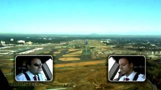 オーストリア航空B777-200ER成田空港着陸コクピットビュー