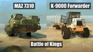 Spintires Mudrunner E-7310 vs K-9000 forwarder | New King of Mudrunner ?