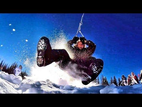 hqdefault - Tirolina de locura en la nieve