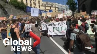 Greta Thunberg leads climate change march in Switzerland