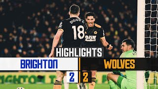 Jota scores two as Wolves draw on the south coast | Brighton & Hove Albion 2-2 Wolves | Highlights