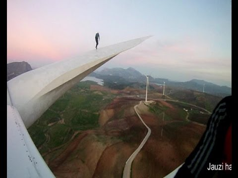 Base jumping from a windmill