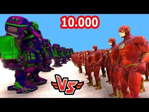 10.000 FLASH VS 10 HULKBUSTER 😱 - Süper Kahramanlar