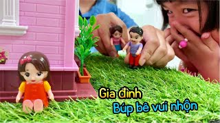 Fun family, toy cartoon. Family story for doll toys, entertainment for babie