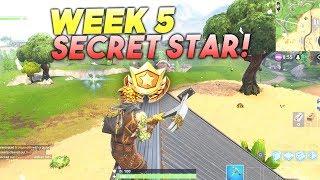 SECRET BATTLE STAR WEEK 5 SEASON 5 LOCATION! Fortnite Battle Royale Free Tier (Road Trip Challenges)