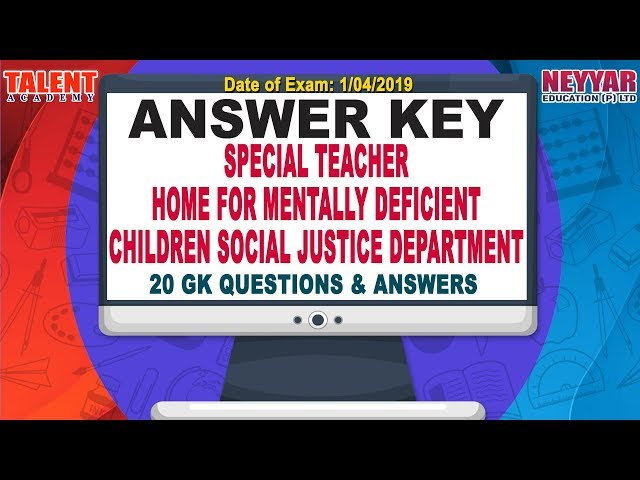 Kerala PSC Today's (01/04/2019) Exam Special Teacher in Social Justice Department   GK   Answer Key