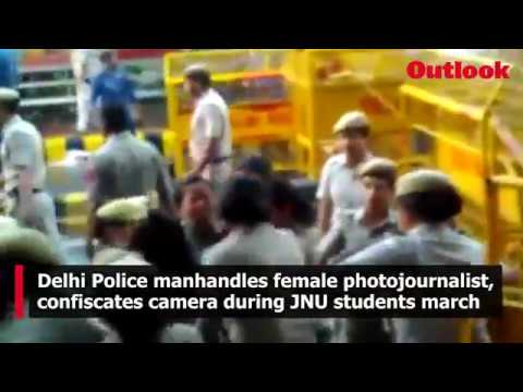 Delhi Police manhandles female video journalist, snatches her camera during JNU students march in Delhi