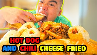 HOT DOG & CHILI CHEESE FRIES | RECIPE | MUKBANG | QT