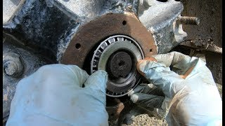 Installing a wheel bearing in a dump truck