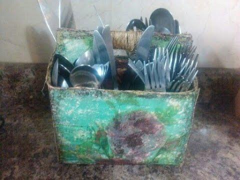 DIY Porta cubiertos estilo Vintage / Vintage Cutlery box