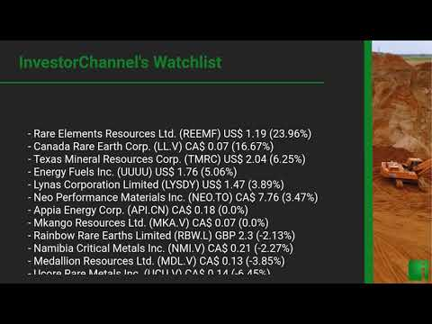 InvestorChannel's Rare Earths Watchlist Update for Tuesday, June 02, 2020, 16:03 EST